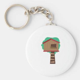 Tree House Basic Round Button Keychain
