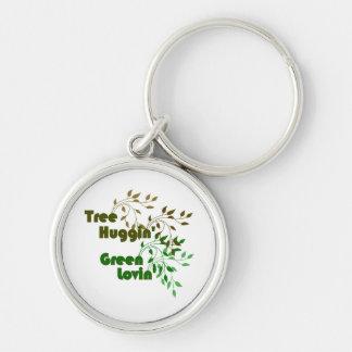 Tree Hug' Green Lov' Key chain- Going Green Ser. Silver-Colored Round Keychain