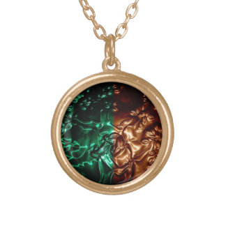 Tree Huger Embossing Art Car Mirror Mojo Round Pendant Necklace