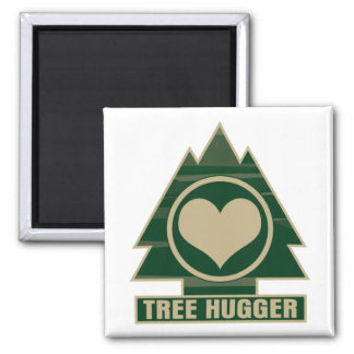 Tree Hugger at Heart 2 Inch Square Magnet