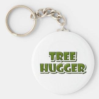 Tree Hugger Basic Round Button Keychain