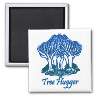 Tree Hugger Blue Trees Nature Environmentalist 2 Inch Square Magnet