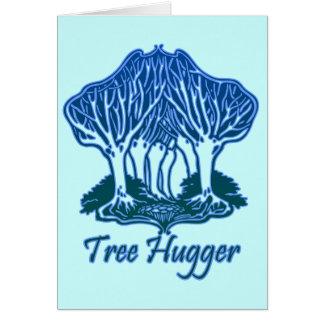 Tree Hugger Blue Trees Nature Environmentalist Cards