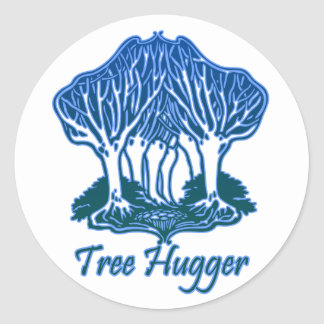 Tree Hugger Blue Trees Nature Environmentalist Stickers