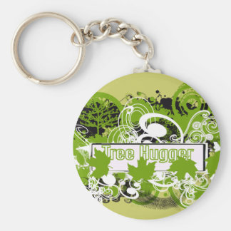 Tree Hugger Collage of Nature in Green Tones Basic Round Button Keychain