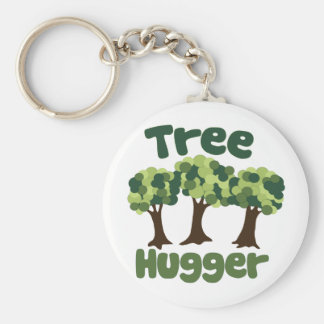 Tree Hugger for Earth Day Basic Round Button Keychain