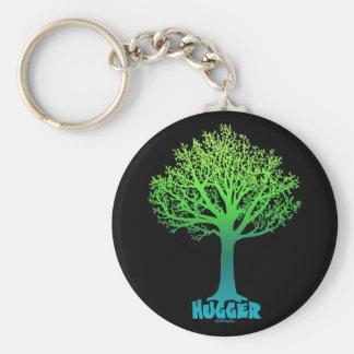Tree Hugger green rainbow Basic Round Button Keychain