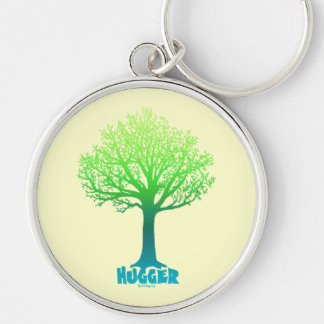Tree Hugger green rainbow Keychain