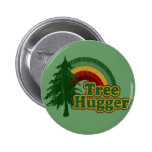 Tree Hugger Hippie Rainbow Button