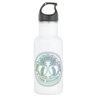 Tree hugger, hippy badge stainless steel water bottle