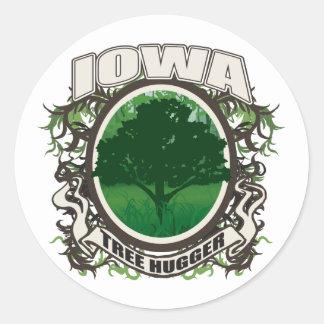 Tree Hugger Iowa Round Sticker