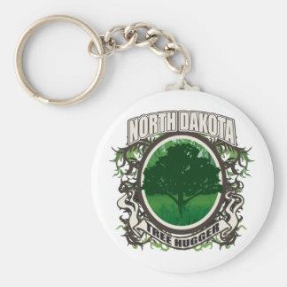 Tree Hugger North Dakota Basic Round Button Keychain