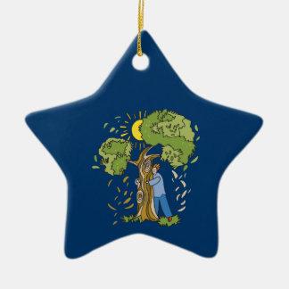 Tree Hugger Double-Sided Star Ceramic Christmas Ornament