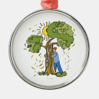 Tree Hugger Round Metal Christmas Ornament