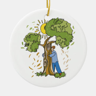 Tree Hugger Double-Sided Ceramic Round Christmas Ornament