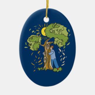 Tree Hugger Double-Sided Oval Ceramic Christmas Ornament