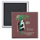 Tree Hugger Panda 2 Inch Square Magnet