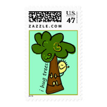 Tree Hugger Postage Stamp