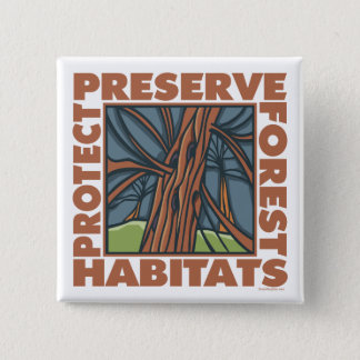 Tree Hugger, Protect Forests Button