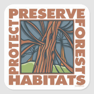 Tree Hugger, Protect Forests Square Sticker