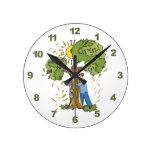 Tree Hugger Round Wall Clock