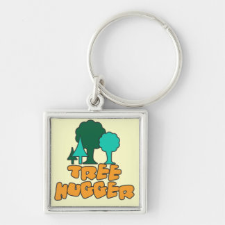 Tree Hugger Silver-Colored Square Keychain