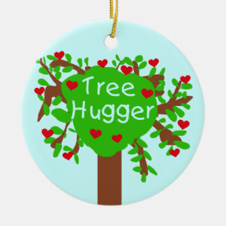 Tree Hugger T-shirts and Gifts Double-Sided Ceramic Round Christmas Ornament