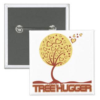 Tree Hugger Tree Hearts 2 Inch Square Button