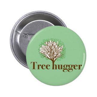 Tree Hugger w/ tree illustration 2 Inch Round Button