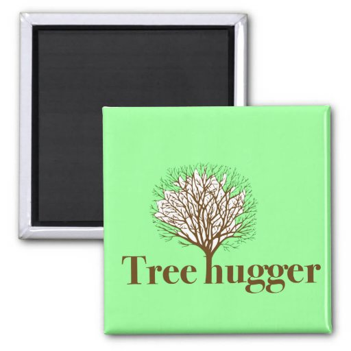 Tree Hugger w/ tree illustration 2 Inch Square Magnet