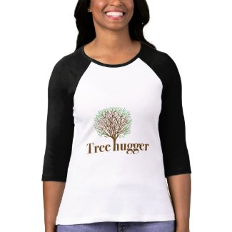 Tree Hugger w/ tree illustration zazzle_shirt