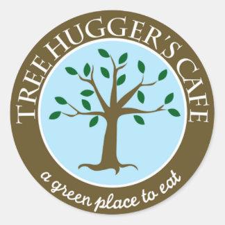 Tree Huggers Cafe Sticjer ^__^ Classic Round Sticker