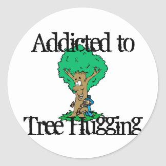 Tree Hugging Classic Round Sticker