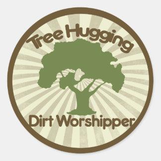 Tree Hugging Dirt Worshiper Classic Round Sticker