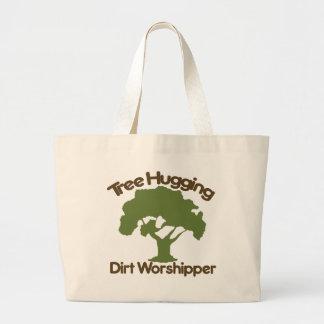 Tree hugging dirt worshiper jumbo tote bag