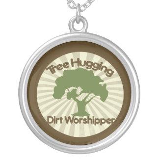 Tree Hugging Dirt Worshiper Round Pendant Necklace