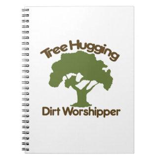 Tree hugging dirt worshiper spiral notebook