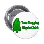 Tree Hugging Hippie Chick Pin