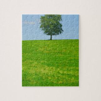 Tree in  a field jigsaw puzzle