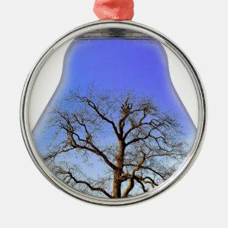 Tree in a Light Bulb Metal Ornament