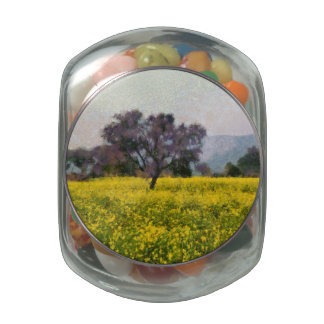 Tree in a yellow vision glass jar