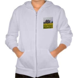 Tree in a yellow vision hooded pullover