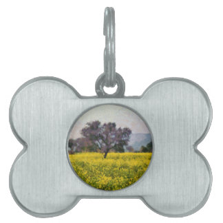 Tree in a yellow vision pet ID tag