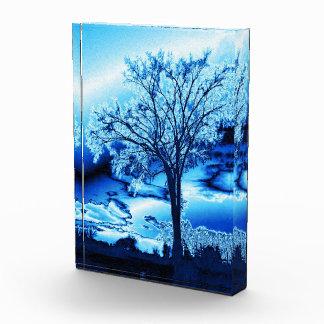 Tree in Blue Ice Acrylic Block Acrylic Award