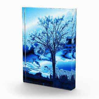Tree in Blue Ice Acrylic Photo Block