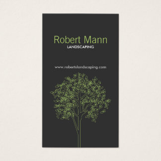 TREE in GREEN/GRAY VERTICAL Business Card