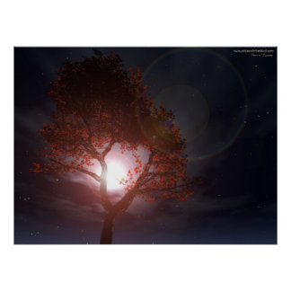 Tree In Moonrise Poster