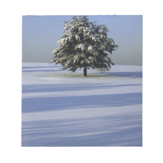 Tree in snow covered landscape notepad