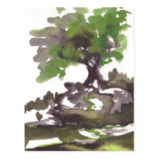 Tree in Summer Watercolor Postcard