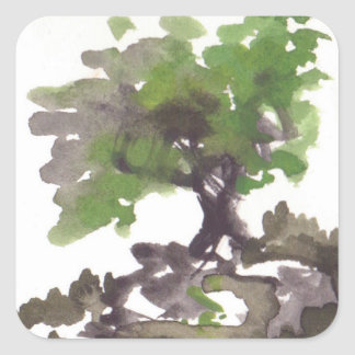 Tree in Summer Watercolor Stickers